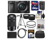 Sony Alpha A6000 Wi-Fi Digital Camera & 16-50mm Lens (Black) with 55-210mm Lens + 64GB Card + Case + Battery/Charger + Tripod + Kit