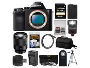 Sony Alpha A7 Digital Camera Body (Black) with Vario-Tessar T* FE 24-70mm f/4.0 ZA Lens + 64GB Card + Case + Flash + Tripod Kit