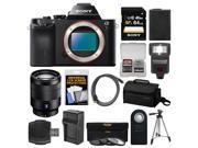 Sony Alpha A7R Digital Camera Body (Black) with Vario-Tessar T* FE 24-70mm f/4.0 ZA Lens + 64GB Card + Case + Flash + Tripod Kit