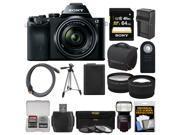 Sony Alpha A7 Digital Camera & 28-70mm FE OSS Lens (Black) with Sony HVL-F60M Flash + 64GB Card + Case + Battery + Tripod + 2 Lenses Kit