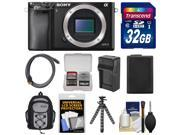 Sony Alpha A6000 Wi-Fi Digital Camera Body (Black) with 32GB Card + Case + Battery/Charger + Tripod + Accessory Kit