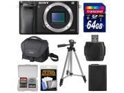 Sony Alpha A6000 Wi-Fi Digital Camera Body (Black) with 64GB Card + Case + Battery + Tripod + Accessory Kit