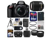 Nikon D3200 Digital SLR Camera & 18-55mm & 55-200mm DX AF-S Zoom Lens and Case with 64GB Card + Battery & Charger + Tripod + Tele/Wide Lenses + Kit