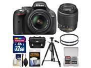Nikon D5200 Digital SLR Camera & 18-55mm G VR DX AF-S Lens (Black) - Factory Refurbished with 55-200mm DX AF-S Lens + 32GB Card + Case + Tripod + Accessory Kit