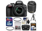 Nikon D3300 Digital SLR Camera & 18-55mm VR DX II AF-S Lens (Black) - Factory Refurbished with 55-200mm DX Zoom Lens + 32GB Card + Case + Tripod + 2 Filters + Kit