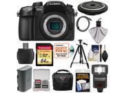 Panasonic Lumix DMC-GH4 4K Micro Four Thirds Digital Camera Body with 15mm Pancake Lens + 64GB Card + Battery + Case + Tripod + Flash + Kit