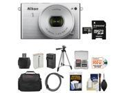 Nikon 1 J4 Digital Camera & 10-30mm PD Zoom Lens (Silver) with 32GB Card + Case + Battery & Charger + Tripod + Kit