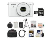 Nikon 1 J4 Digital Camera & 10-30mm PD Zoom Lens (White) with 32GB Card + Case + Battery & Charger + Tripod + Kit