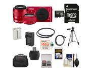 Nikon 1 S2 Digital Camera with 11-27.5mm & 30-110mm VR Lens (Red) with 32GB Card + Case + Battery & Charger + Tripod + Filters + Kit