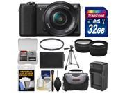 Sony Alpha A5100 Wi-Fi Digital Camera & 16-50mm Lens (Black) with 32GB Card + Case + Battery & Charger + Tripod + Filter + Tele/Wide Lens Kit