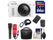 Nikon 1 AW1 Shock & Waterproof Digital Camera Body with AW 11-27.5mm Lens (White) with 64GB Card + Case + Battery & Charger + UW Light + Kit