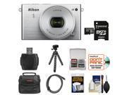 Nikon 1 J4 Digital Camera & 10-30mm PD Zoom Lens (Silver) with 32GB Card + Case + Tripod & Accessory Kit