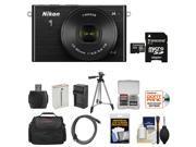 Nikon 1 J4 Digital Camera & 10-30mm PD Zoom Lens (Black) with 32GB Card + Case + Battery & Charger + Tripod + Kit
