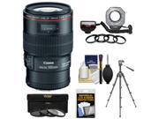 Canon EF 100mm f/2.8 L IS Macro USM Lens with Ringlight + Tripod + 3 Filters Kit