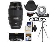 Canon EF 100mm f/2.8 Macro USM Lens with Ringlight + Tripod + Hood + 3 Filters Kit