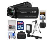 Panasonic HC-V250K HD Wi-Fi Video Camera Camcorder with 32GB Card + Case + LED Video Light + Tripod + Kit