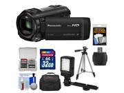 Panasonic HC-V750K HD Wi-Fi Video Camera Camcorder with 32GB Card + Case + LED Light + Tripod + Kit