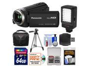 Panasonic HC-V550K HD Wi-Fi Video Camera Camcorder with 64GB Card + LED Video Light + Case + Tripod + Accessory Kit