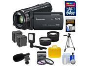 Panasonic HC-X920 3MOS Ultrafine Full HD Wi-Fi Video Camera Camcorder (Black) with 64GB Card + Batteries + Hard Case + Video Light + Mic + Tripod + Tele/Wide Lens Kit