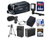 Canon Vixia HF R50 8GB Flash Memory 1080p HD Wi-Fi Digital Video Camcorder with 64GB Card + Battery & Charger + Hard Case + LED Light + Mic + Tripod Kit