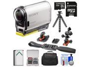 Sony Action Cam HDR-AS100V Wi-Fi GPS HD Video Camera Camcorder with 32GB Card + Battery + Flat Surface & Helmet Mounts + Case + Tripod Kit