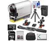 Sony Action Cam HDR-AS100V Wi-Fi GPS HD Video Camera Camcorder with 64GB Card + Battery + Charger + Surface/Helmet Mounts + Case + Tripod Kit