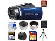 Bell & Howell DNV16HDZ 1080p HD Video Camera Camcorder with Infrared Night Vision (Blue) with 32GB Card + Case + Flex Tripod + Wide Angle & Telephoto Lenses + Accessory Kit
