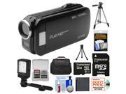 Bell & Howell Slice2 DV7HD 1080p HD Slim Video Camera Camcorder (Black) with 32GB Card + Battery + Case + Tripods + LED Light + Kit