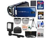 Bell & Howell DV12HDZ 1080p HD Video Camera Camcorder (Blue) with 32GB Card + Battery + Case + Tripod + Filters + Video Light + Tele/Wide Lens Kit