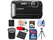 Panasonic Lumix DMC-TS25 Shock & Waterproof Digital Camera (Black) with 32GB Card + Battery + Case + Floating Strap + Flex Tripod + Accessory Kit