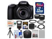 Canon PowerShot SX60 HS Wi-Fi Digital Camera with 32GB Card + Case + Flash + Battery + Tripod + Tele/Wide Lens Kit