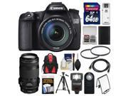 Canon EOS 70D Digital SLR Camera & EF-S 18-135mm IS STM Lens with EF 70-300mm IS Lens + 64GB Card + Backpack + Flash + Battery + Tripod + Accessory Kit
