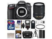 Nikon D7100 Digital SLR Camera Body with 18-140mm VR Lens + 32GB Card + Case + Flash + Battery + Filter + Tripod Kit