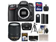 Nikon D7100 Digital SLR Camera Body with 18-140mm VR Lens + 64GB Card + Case + Battery + Tripod + 3 UV/CPL/ND8 Filters Kit