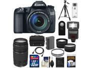 Canon EOS 70D Digital SLR Camera & EF-S 18-135mm IS STM Lens with 75-300mm III Lens + 32GB Card + Battery + Case + Tripod + Flash + Tele/Wide Lens Kit