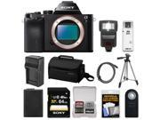 Sony Alpha A7 Digital Camera Body (Black) with 64GB Card + Battery & Charger + Case + Tripod + Flash Kit