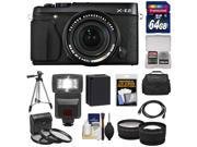 Fujifilm X-E2 Digital Camera & 18-55mm XF Lens (Black) with 64GB Card + Battery + Case + Tripod + Flash + Tele/Wide Lens + Kit