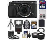 Fujifilm X-E2 Digital Camera & 18-55mm XF Lens (Black) with 64GB Card + Battery + Backpack + Flex Tripod + Flash + Tele/Wide Lens + Kit