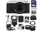 Fujifilm X-E2 Digital Camera & 18-55mm XF Lens (Silver) with 64GB Card + Battery + Case + Tripod + Flash + Tele/Wide Lens + Kit