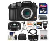 Panasonic Lumix DMC-GH3 Micro Four Thirds Digital Camera Body (Black) with 20mm f/1.7 II Lens + 64GB Card + Case + Flash + Battery + Tripod + Kit