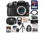 Panasonic Lumix DMC-GH3 Micro Four Thirds Digital Camera Body (Black) with 20mm f/1.7 II Lens + 64GB Card + Backpack + Flash + Battery + Flex Tripod + Kit