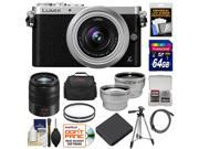 Panasonic Lumix DMC-GM1 Micro Four Thirds Digital Camera & 12-32mm Lens with 45-150mm Lens + 64GB Card + Battery + Case + Filters + Tripod + Tele & Wide Lens Kit