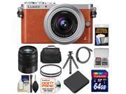 Panasonic Lumix DMC-GM1 Micro Four Thirds Digital Camera & 12-32mm Lens (Orange) with 45-150mm Lens + 64GB Card + Battery + Case + Filters + Flex Tripod Kit