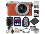 Panasonic Lumix DMC-GM1 Micro Four Thirds Digital Camera & 12-32mm Lens (Orange) with 45-150mm Lens + 64GB Card + Battery + Backpack + Filters + Tele/Wide Lens Kit