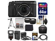 Fujifilm X-E2 Digital Camera & 18-55mm XF Lens (Black) with 64GB Card + Case + Flash + Battery + Tripod + Tele/Wide Lens Kit