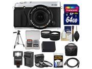 Fujifilm X-E2 Digital Camera & 18-55mm XF Lens (Silver) with 64GB Card + Case + Flash + Battery + Tripod + Tele/Wide Lens Kit