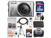 Nikon 1 AW1 Shock & Waterproof Digital Camera Body with AW 11-27.5mm Lens (Silver) with 32GB Card + Case + Battery + Tripod Kit