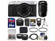 Fujifilm X-E2 Digital Camera & 18-55mm XF Lens (Silver) with 50-230mm OIS Lens + 64GB Card + Case + Flash + Battery + Tripod + Tele/Wide Lens Kit