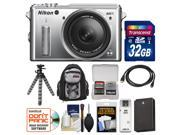 Nikon 1 AW1 Shock & Waterproof Digital Camera Body with AW 11-27.5mm Lens (Silver) with 32GB Card + Sling Backpack + Battery + Flex Tripod Kit