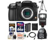 Panasonic Lumix DMC-GH3 Micro Four Thirds Digital Camera Body (Black) with 64GB Card + Battery + Backpack Case + Flash + Tripod + HDMI Cable + Accessory Kit